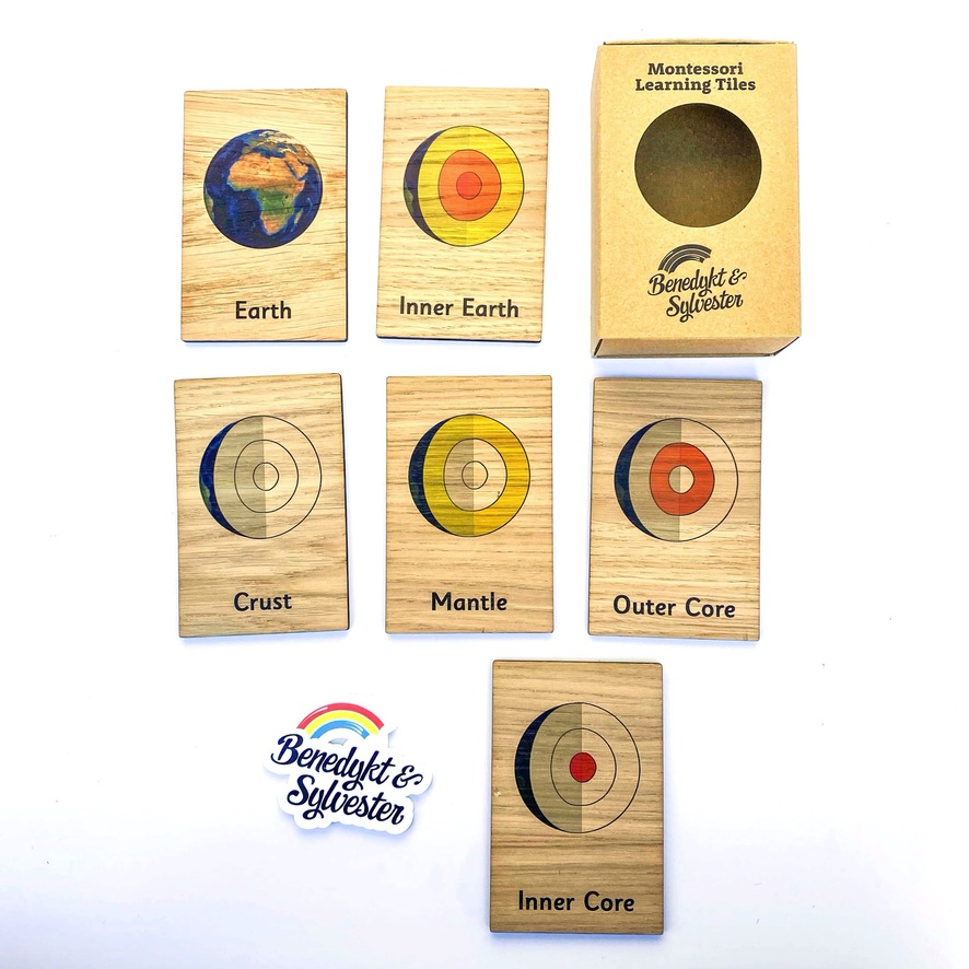 Montessori Inspired Wooden Learning Tiles - Layers of the Earth