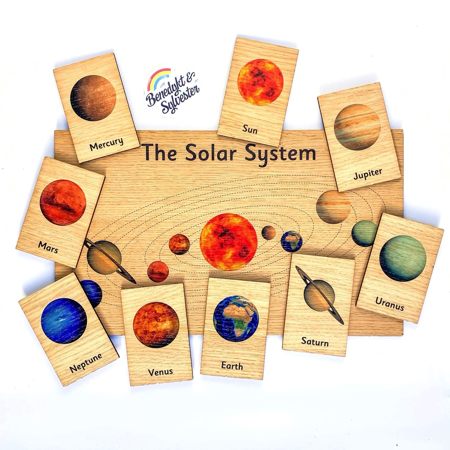 Montessori Inspired Wooden Display Board & Learning Tiles Set - Solar System