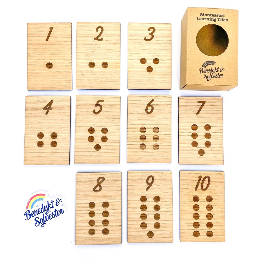 Oak faced Wood Laser Engraved Montessori Inspired Number Learning Counting Cards.