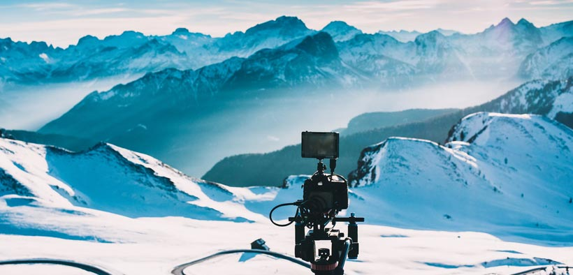 Camera filming in the mountains