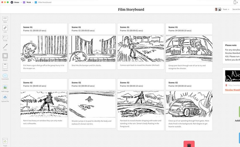 Milanote Filmmaking Storyboard Template