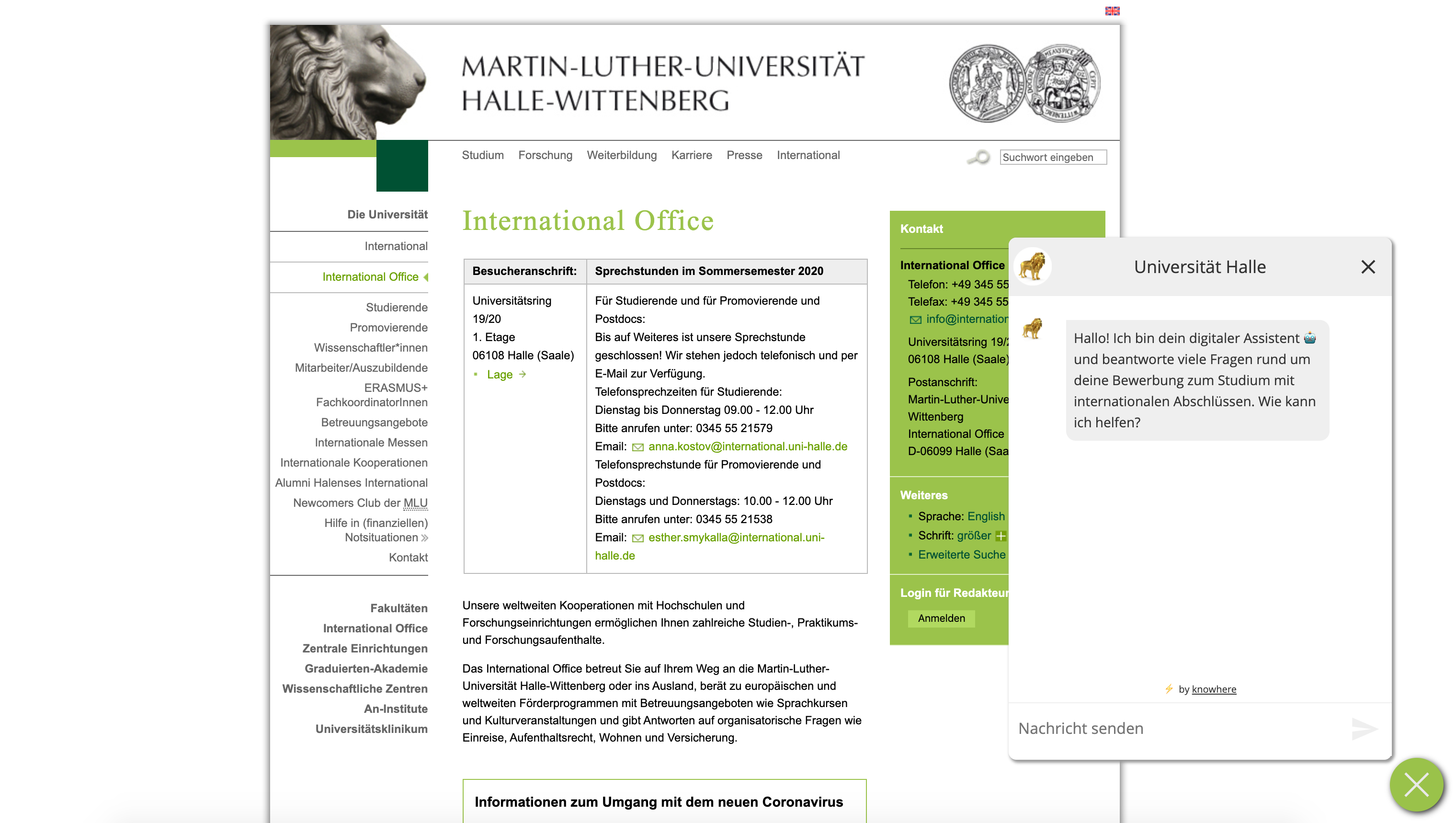 Chatbot der Martin-Luther-Universität Halle-Wittenberg