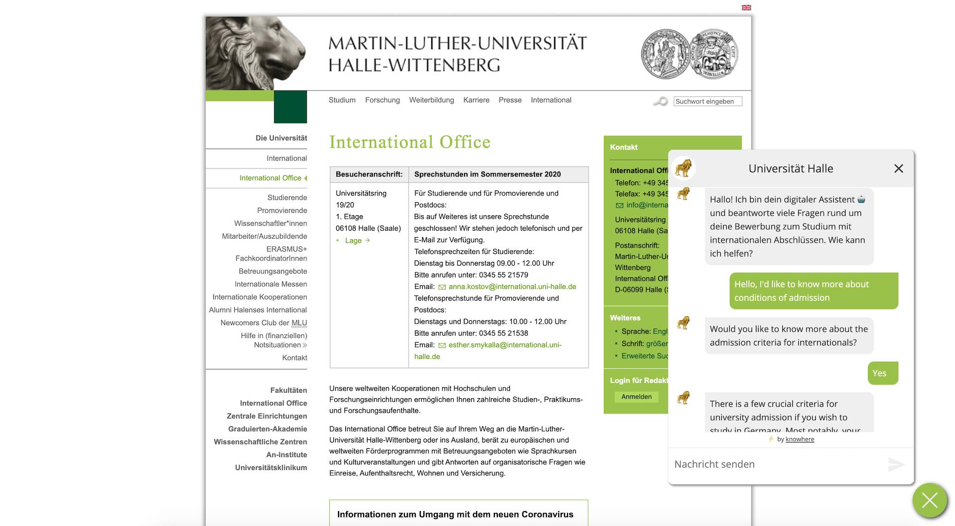Mehrsprachigkeit des Chatbot der Martin-Luther-Universität Halle-Wittenberg