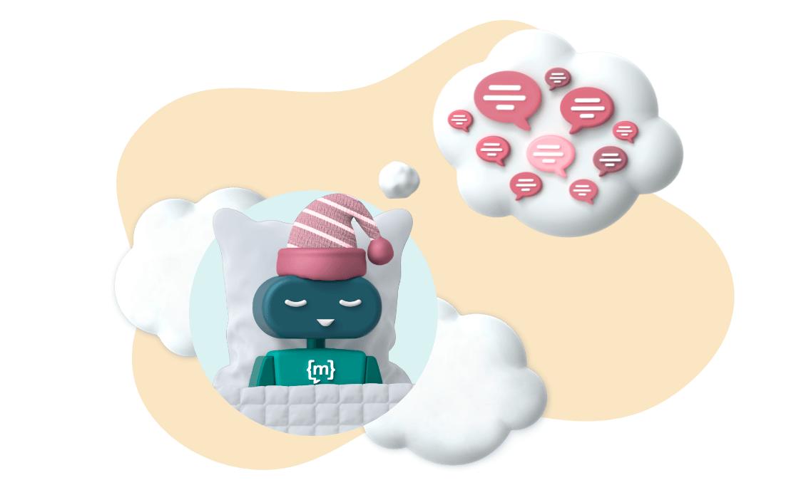 Chatbot träumt von Sprechblasen, um sie in Clustern zu strukturieren.