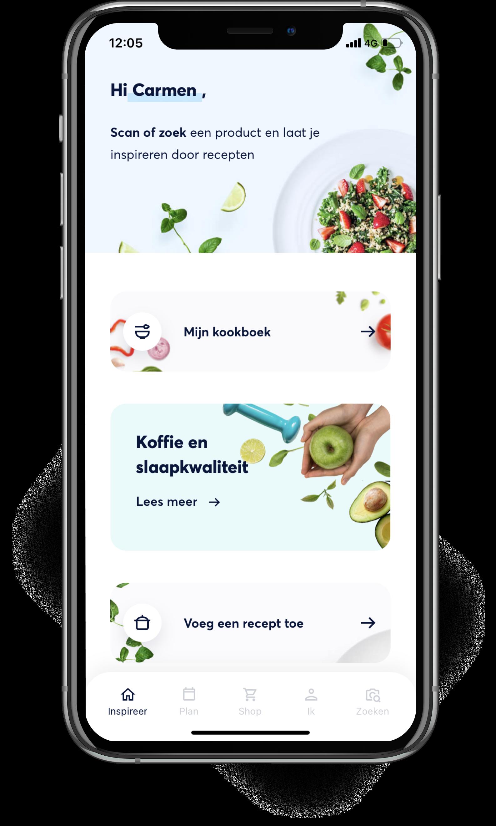 Foto van smartphone met Smart With Food app