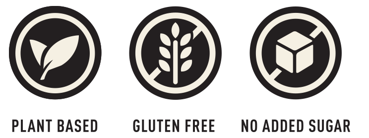 Plant based, gluten free and no added sugar icons