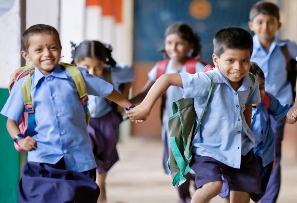 Photograph of Indian children running