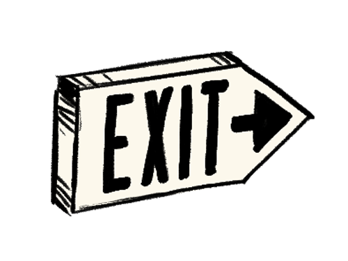 Illustration of exit sign