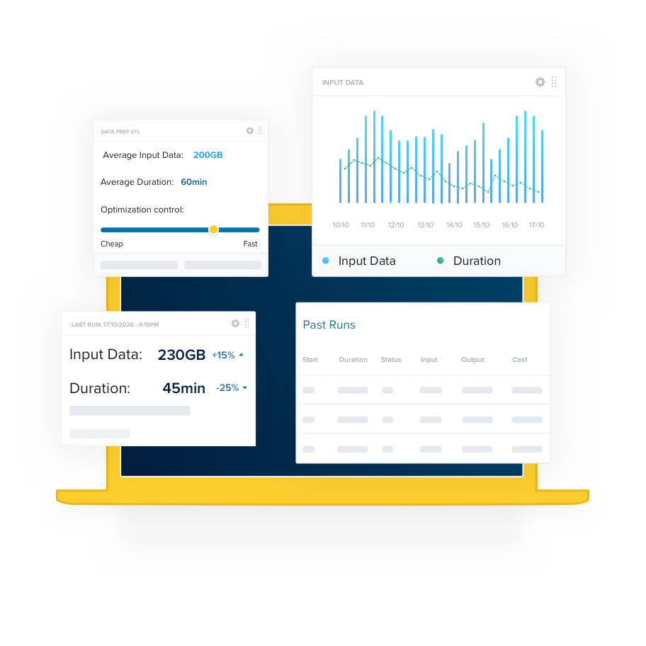 An illustration with a laptop and a dashboard showing a Spark application metrics over time.