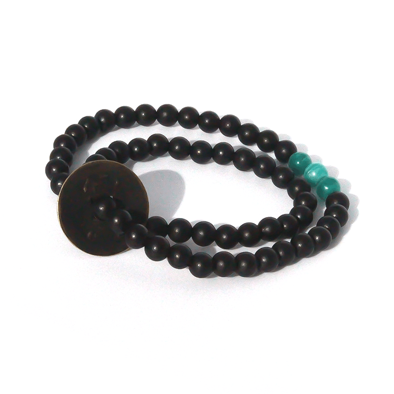 Product Description: black sandalwood complimented by russian amazonite & a Chinese vintage coin