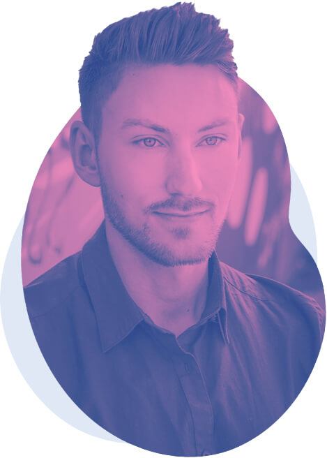A pink and purple picture of Aidan Quigley, a freelance web and graphic designer