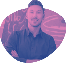 A cutout of web design and branding professional Aidan Quigley in pink and purple, smiling with arms folded