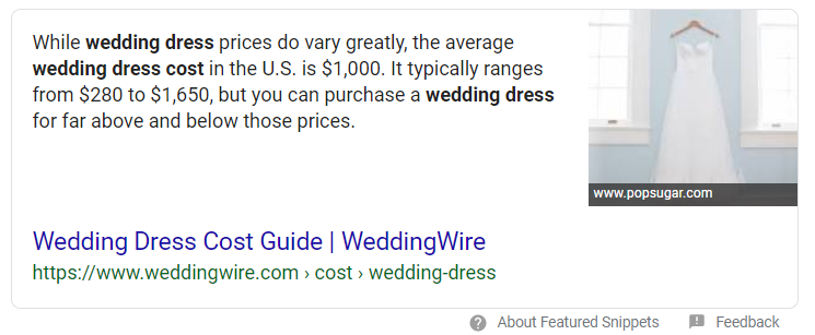 Example of a paragraph form featured snippet (quick answer/answer box)