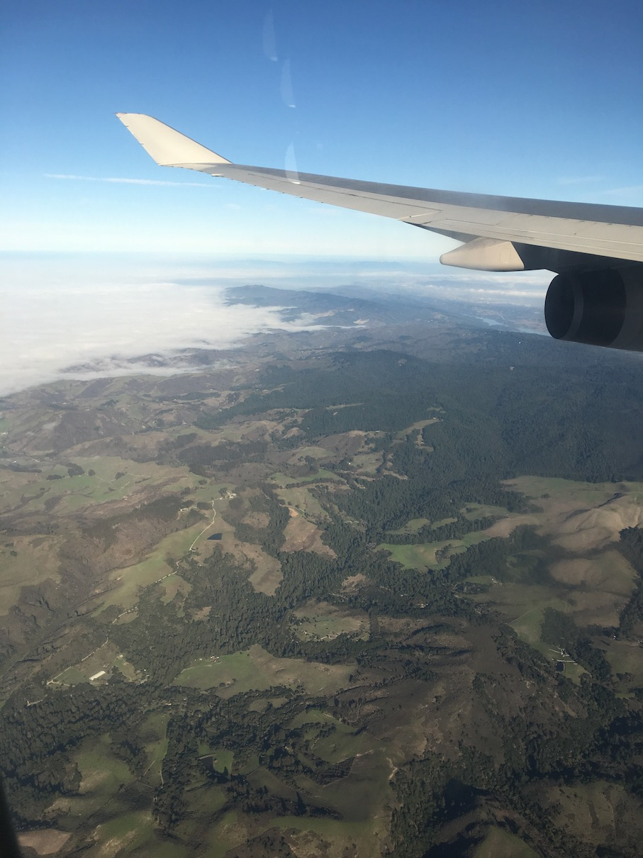 Flying over the US West Coast