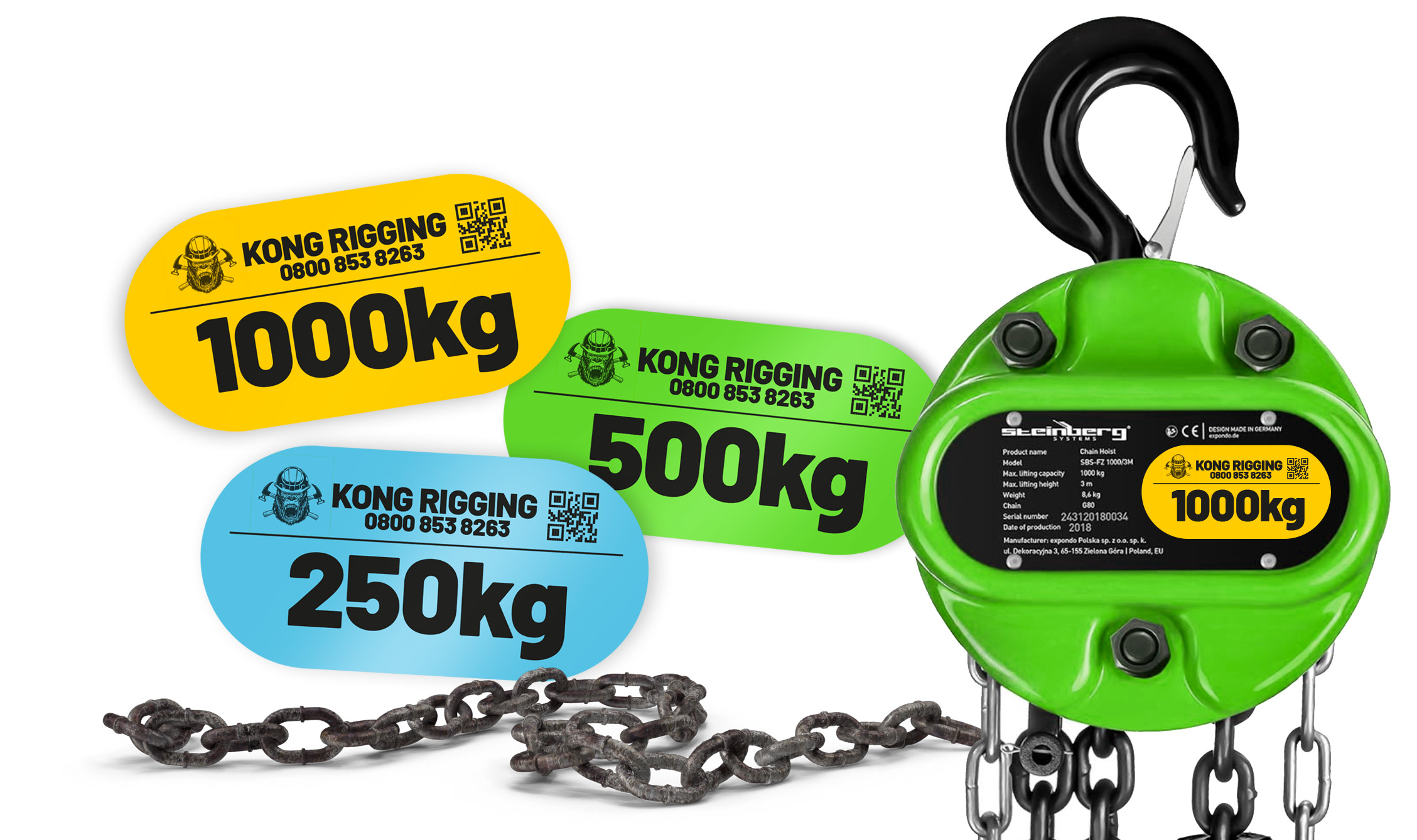 A selection of chain hoist labels