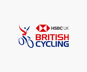 "A black ""BRITISH CYCLING with HSBC"" Logo"