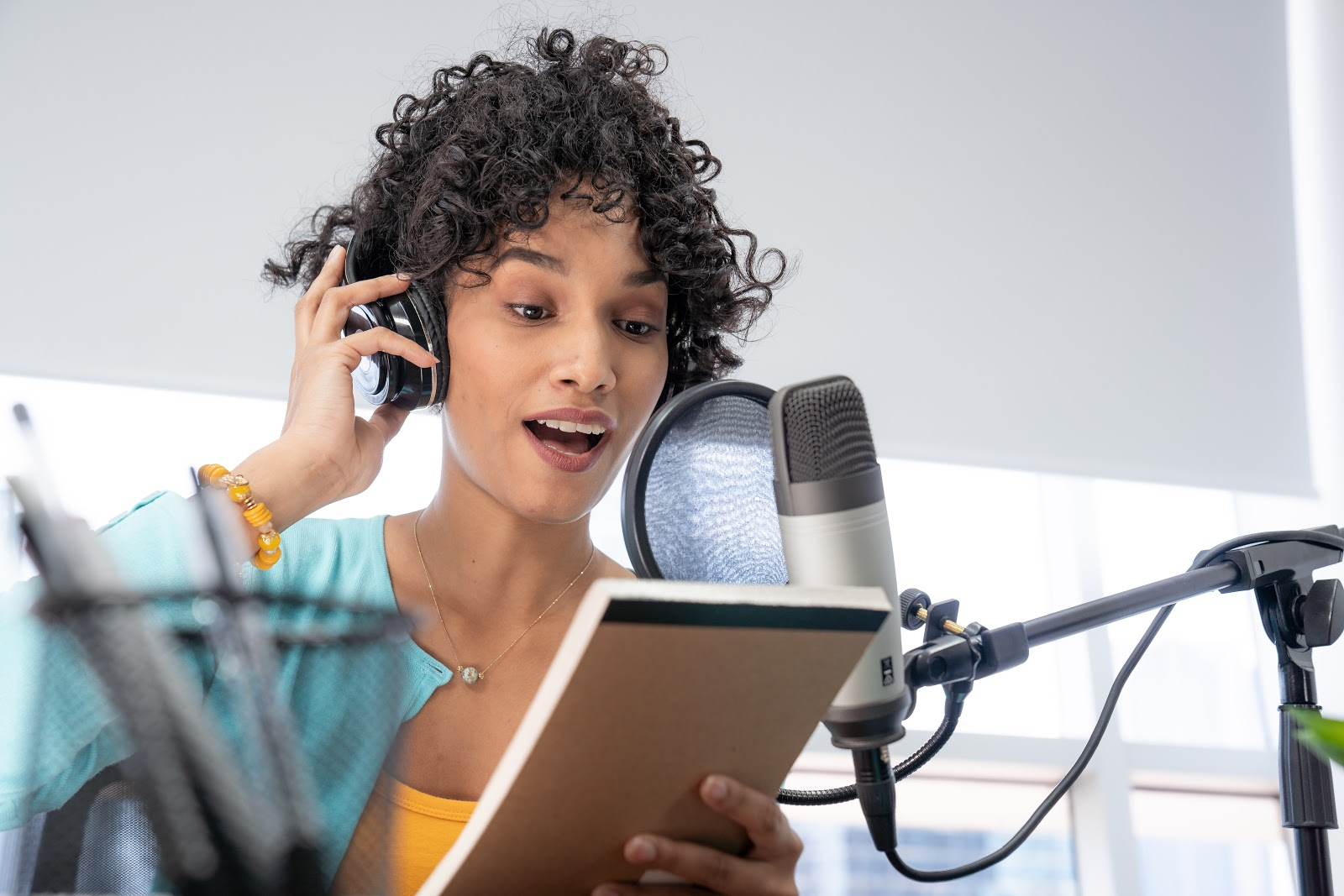 Woman using a microphone
