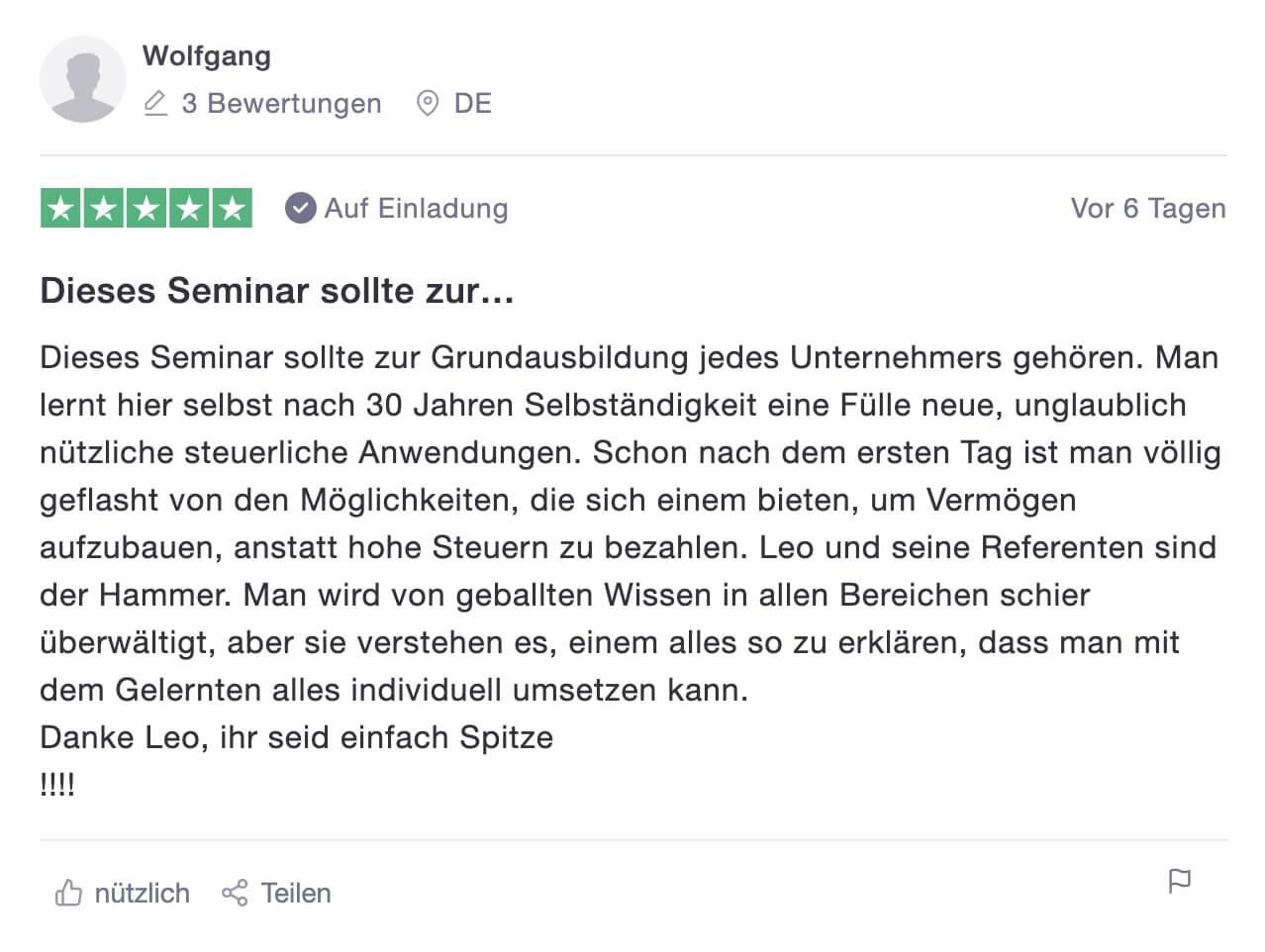 Bewertung Wolfgang