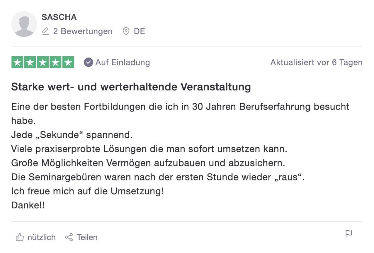 Bewertung von Sascha