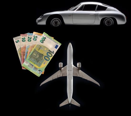 Bilder von einem Sportwagen, Geld und Flugzeug