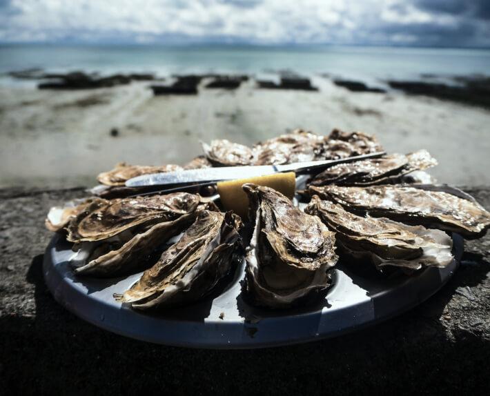 Bild von einem Teller voller Austern am Meer