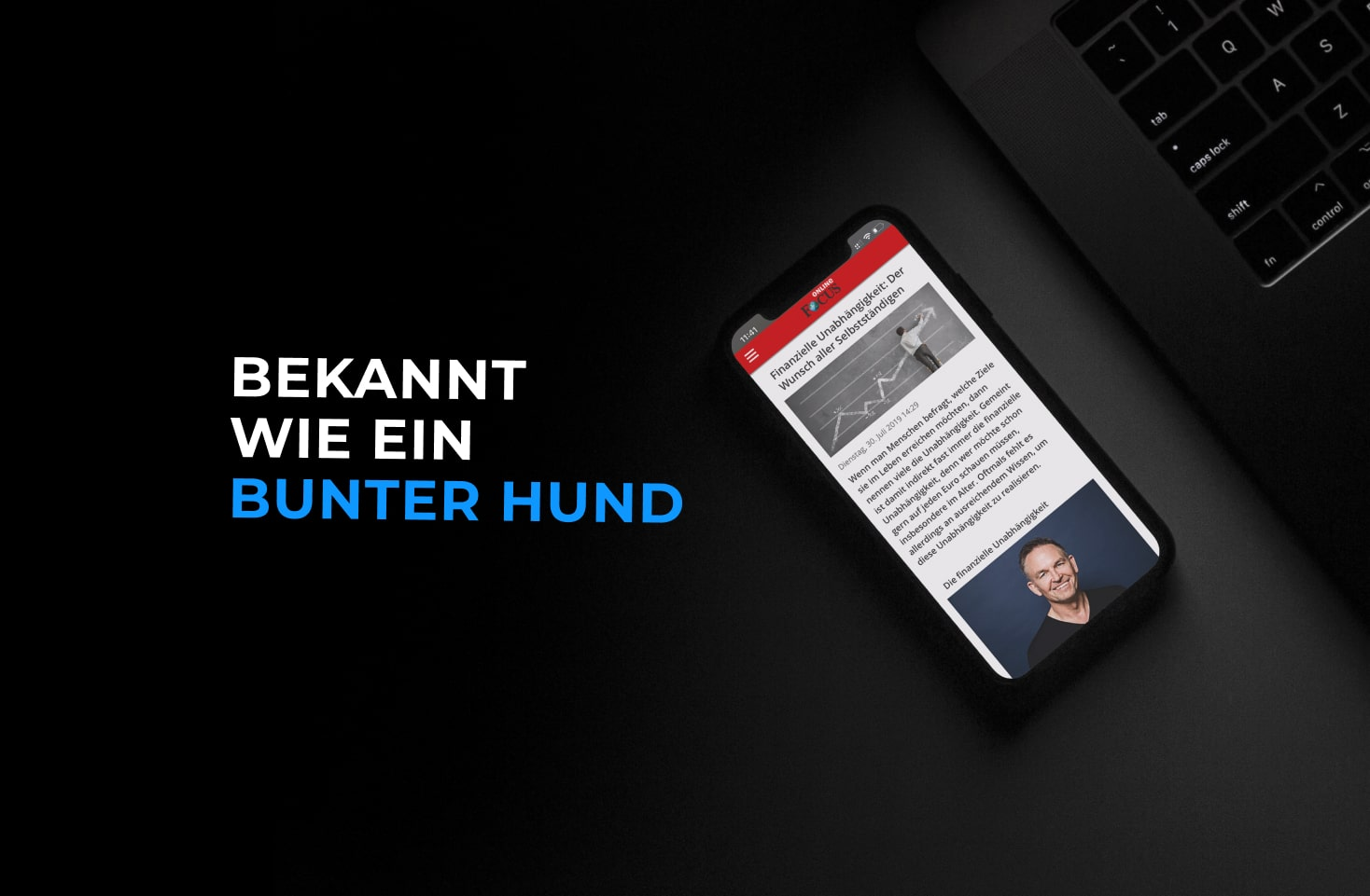 Smartphone  wo ein Artikel eines Onlinemagazins über Leo Gärtner angezeigt wird