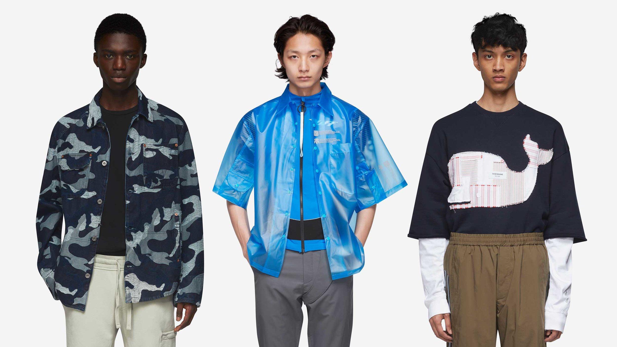 Three menswear fashion models wearing high end streetwear clothes