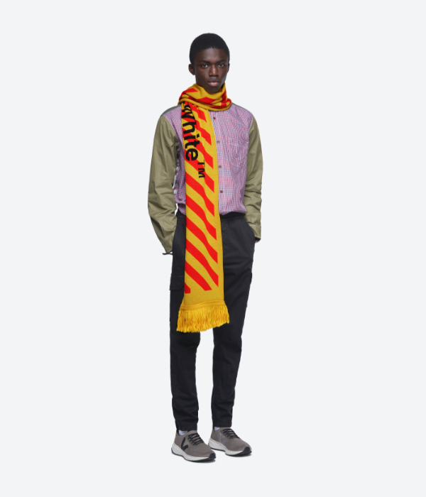 Off white scarf worn by a menswear model in white bakcgtorund