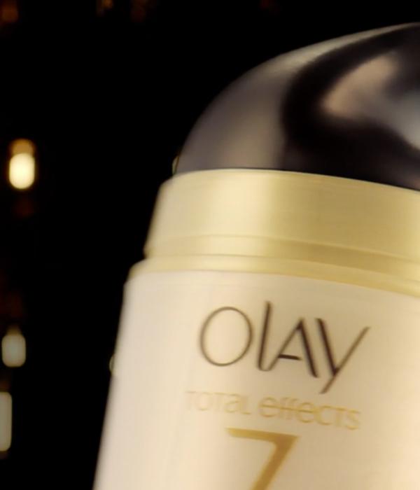 Packshot of Olay product on black background
