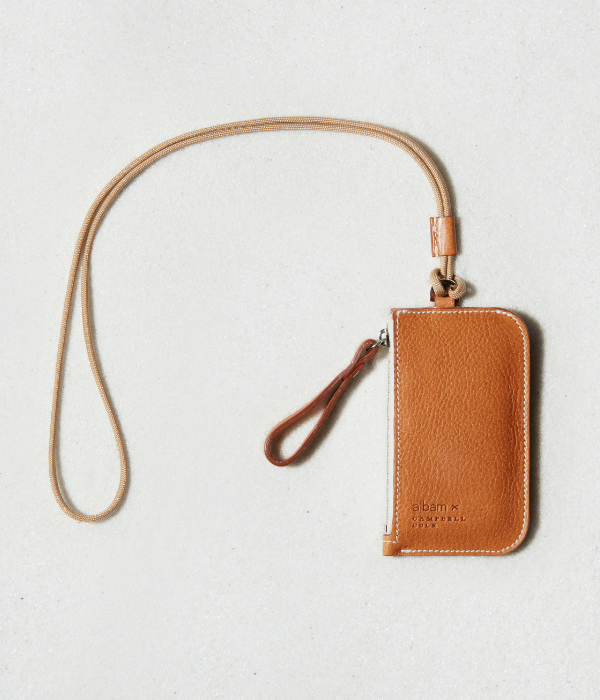 Small leather light brown keyring bag