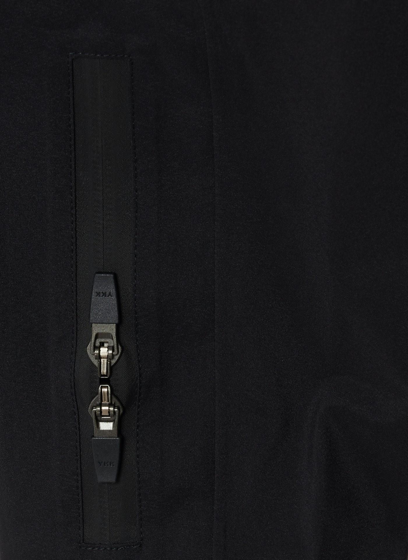 close up of shot a zipper on black coat