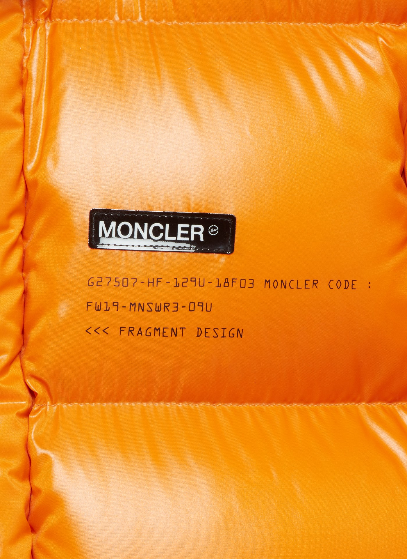 Moncler fragment close up orange jacket