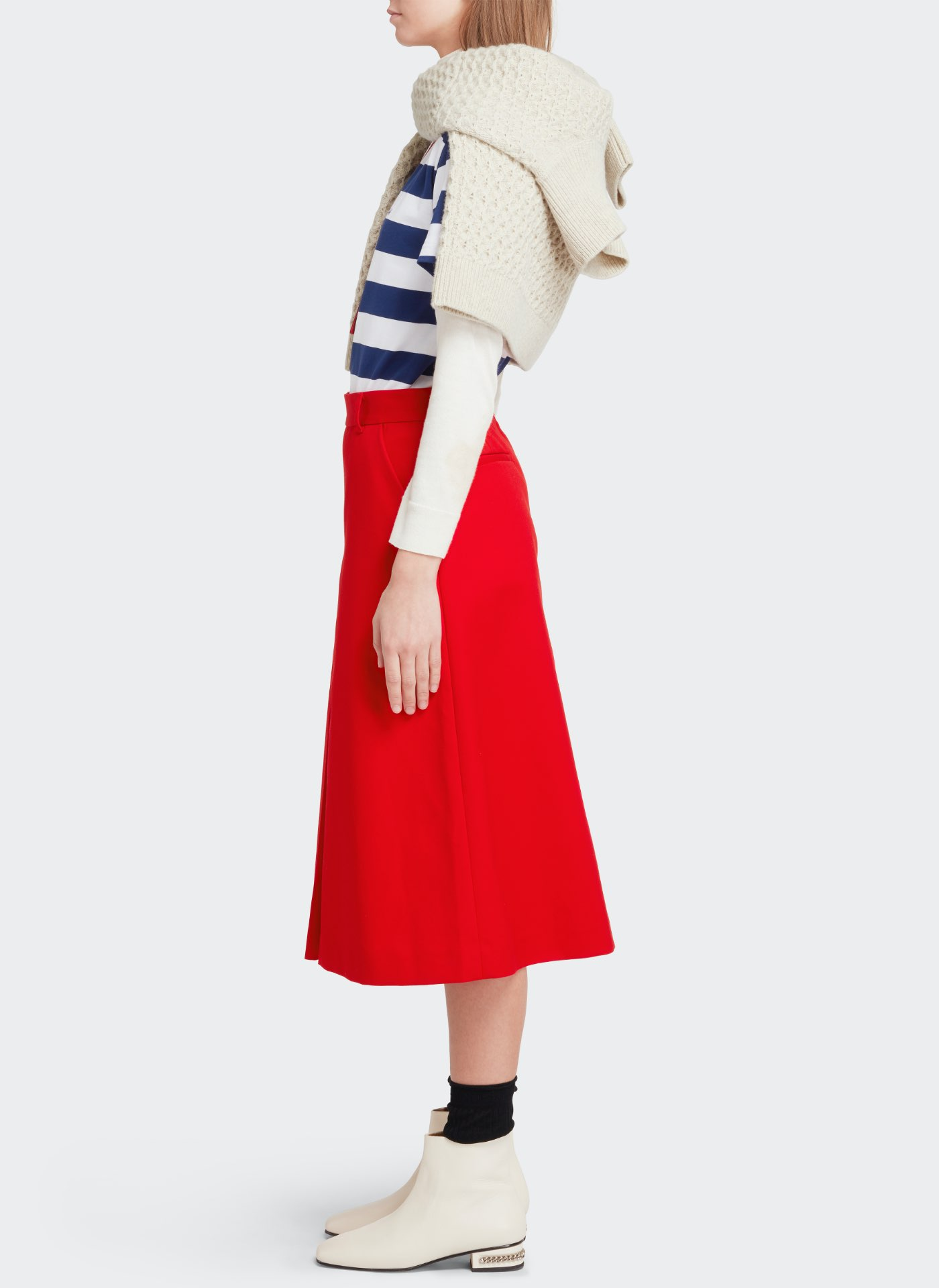 J&M red skirt, Navy and white striped top and white shoes