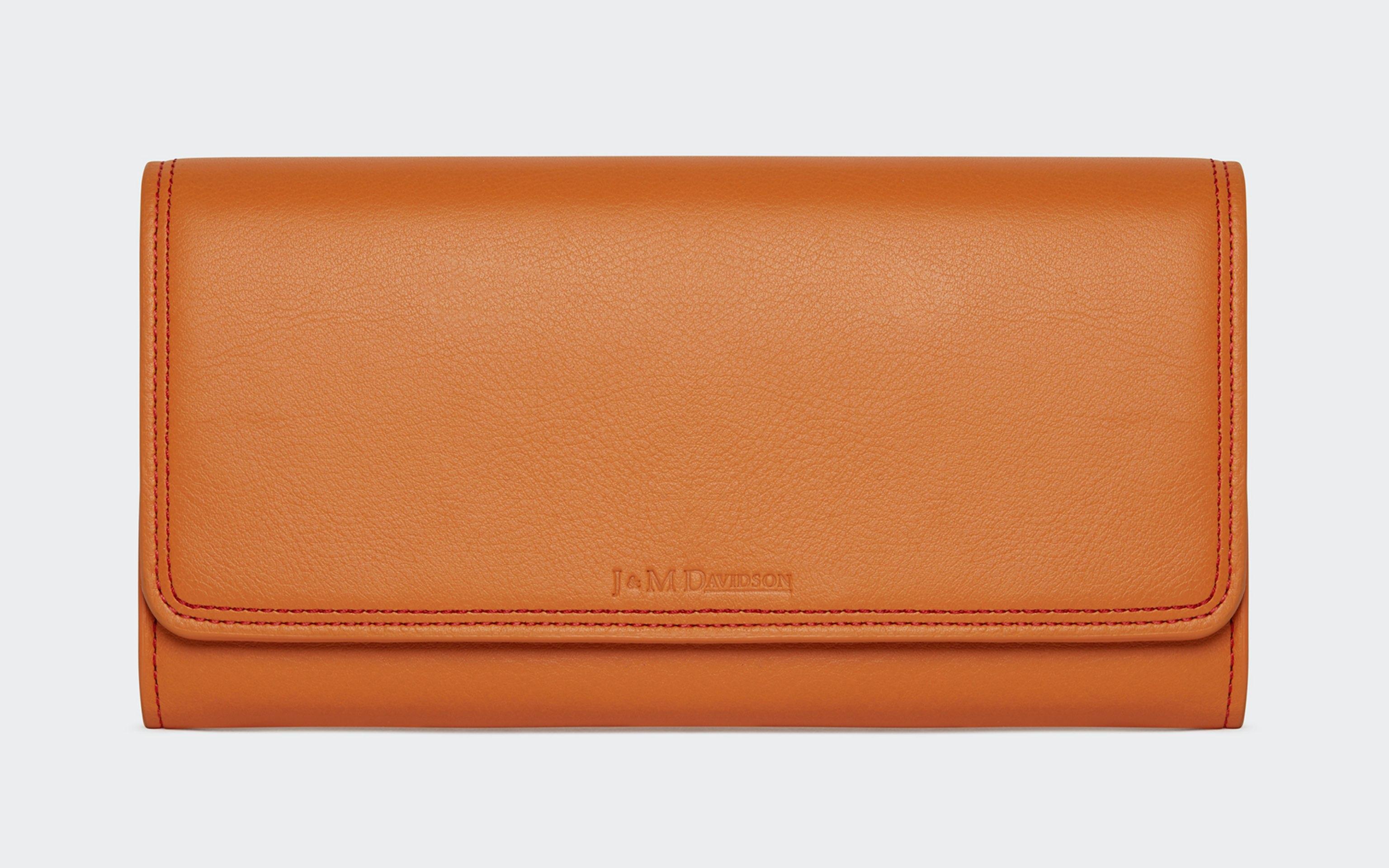 J&M light brown / orange leather square bag / purse
