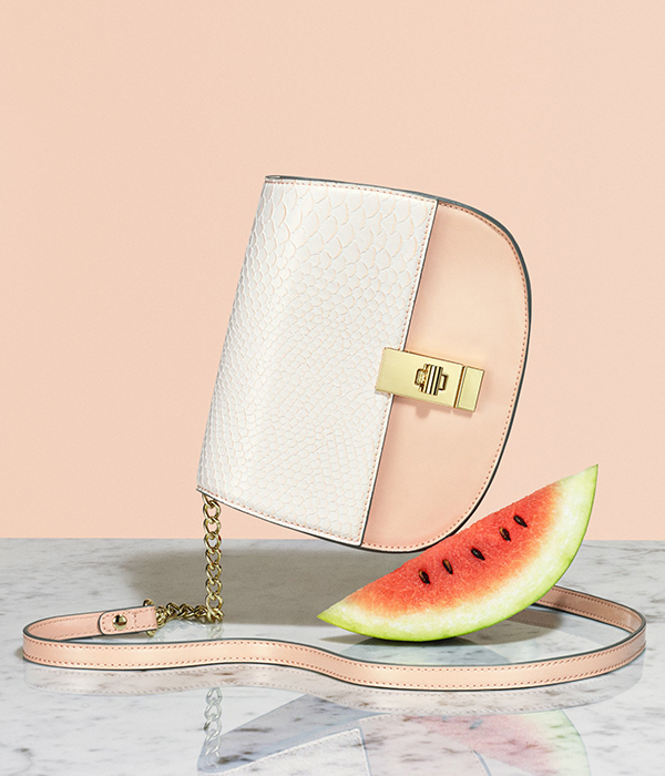 A handbag shot with watermelon slice on pink background