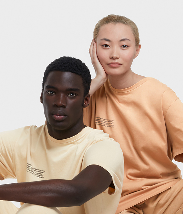man and woman models posing with orange and yellow jumpsuits