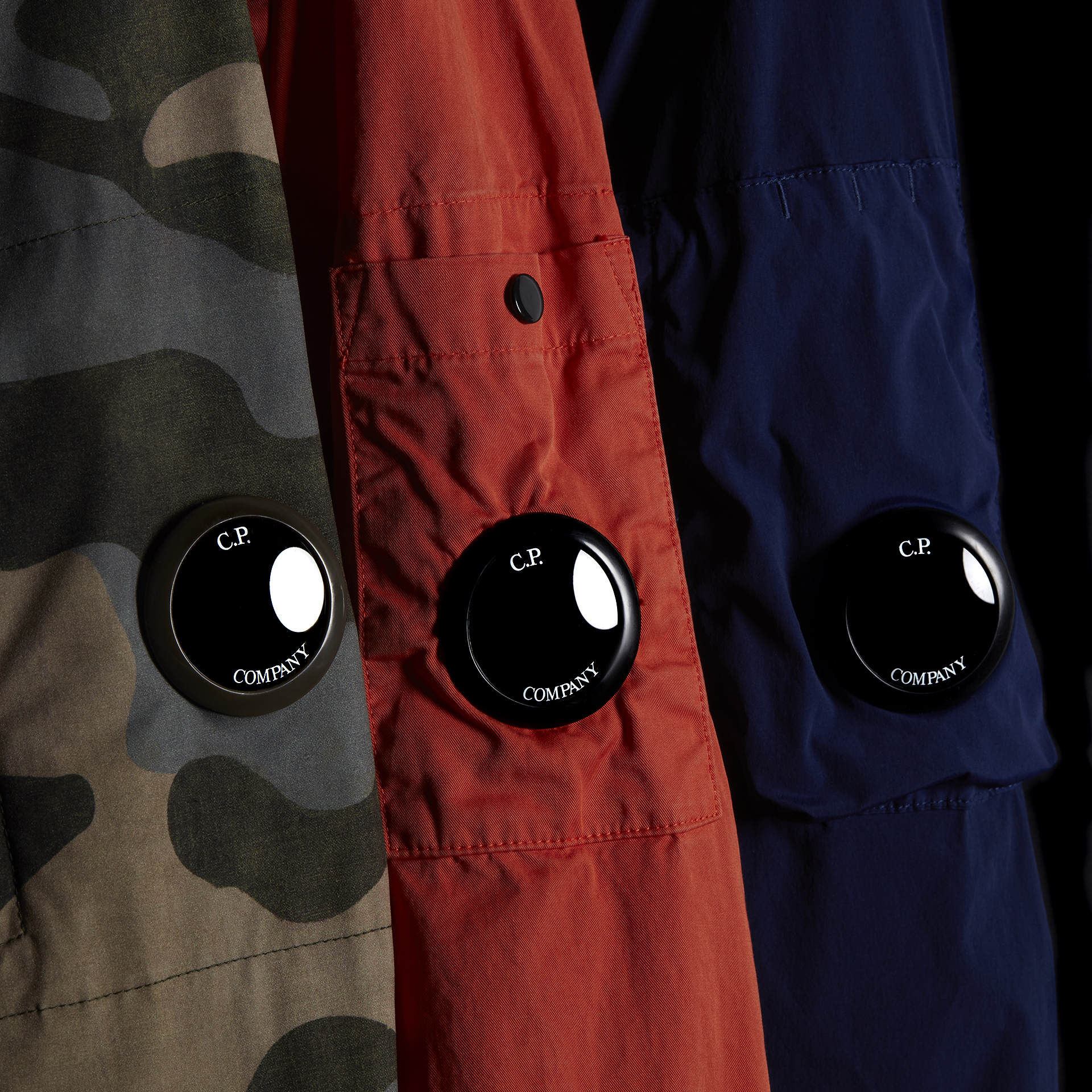 Camo, Red and Blue C.P. Company Jacket details shot of them being together