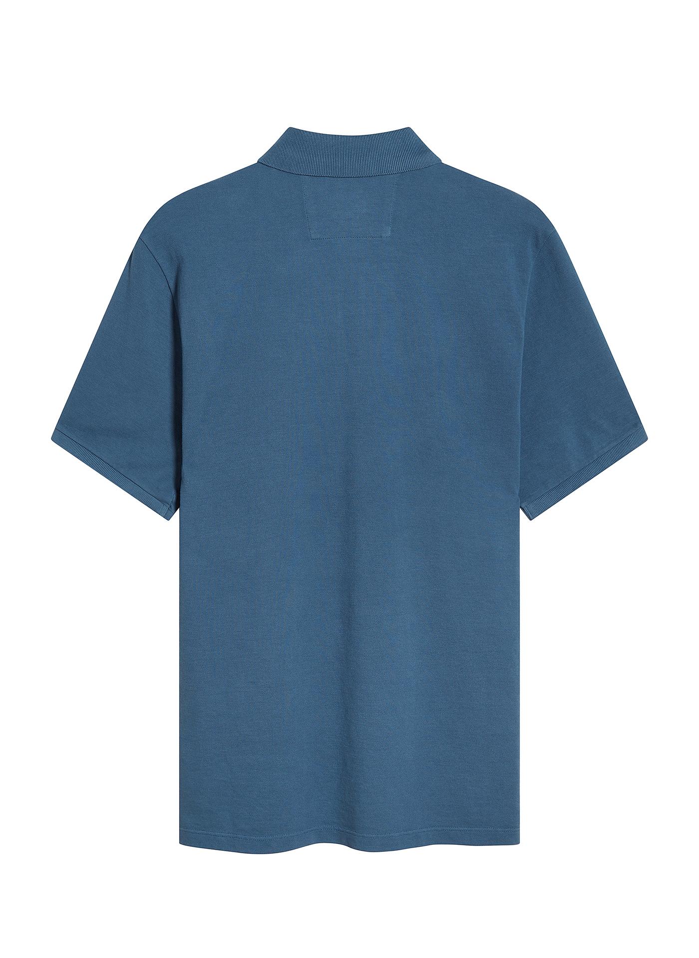 back shot of the light navy C.P. polo shirt on white background