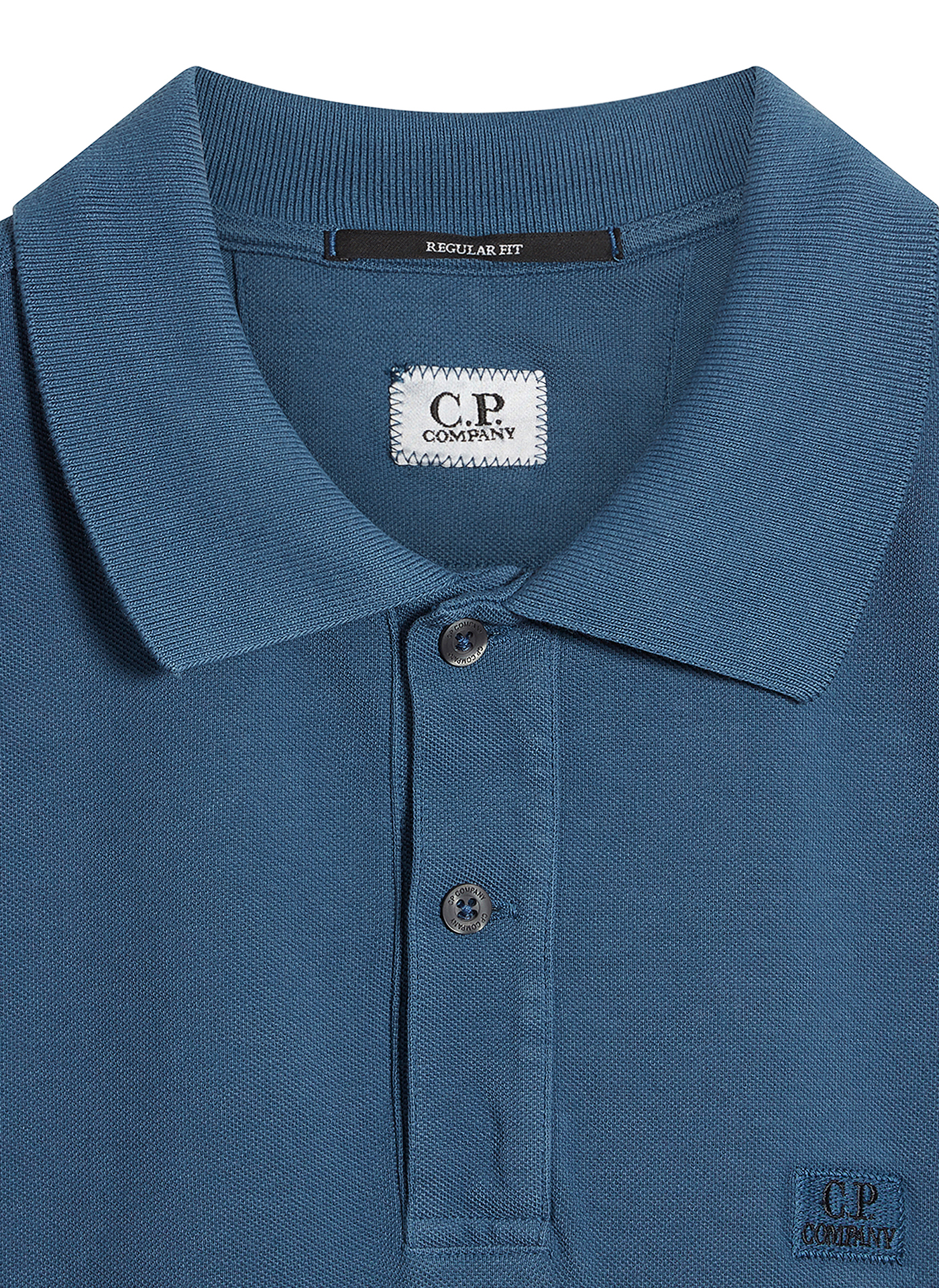 light navy C.P. polo shirt detail of the label and collar