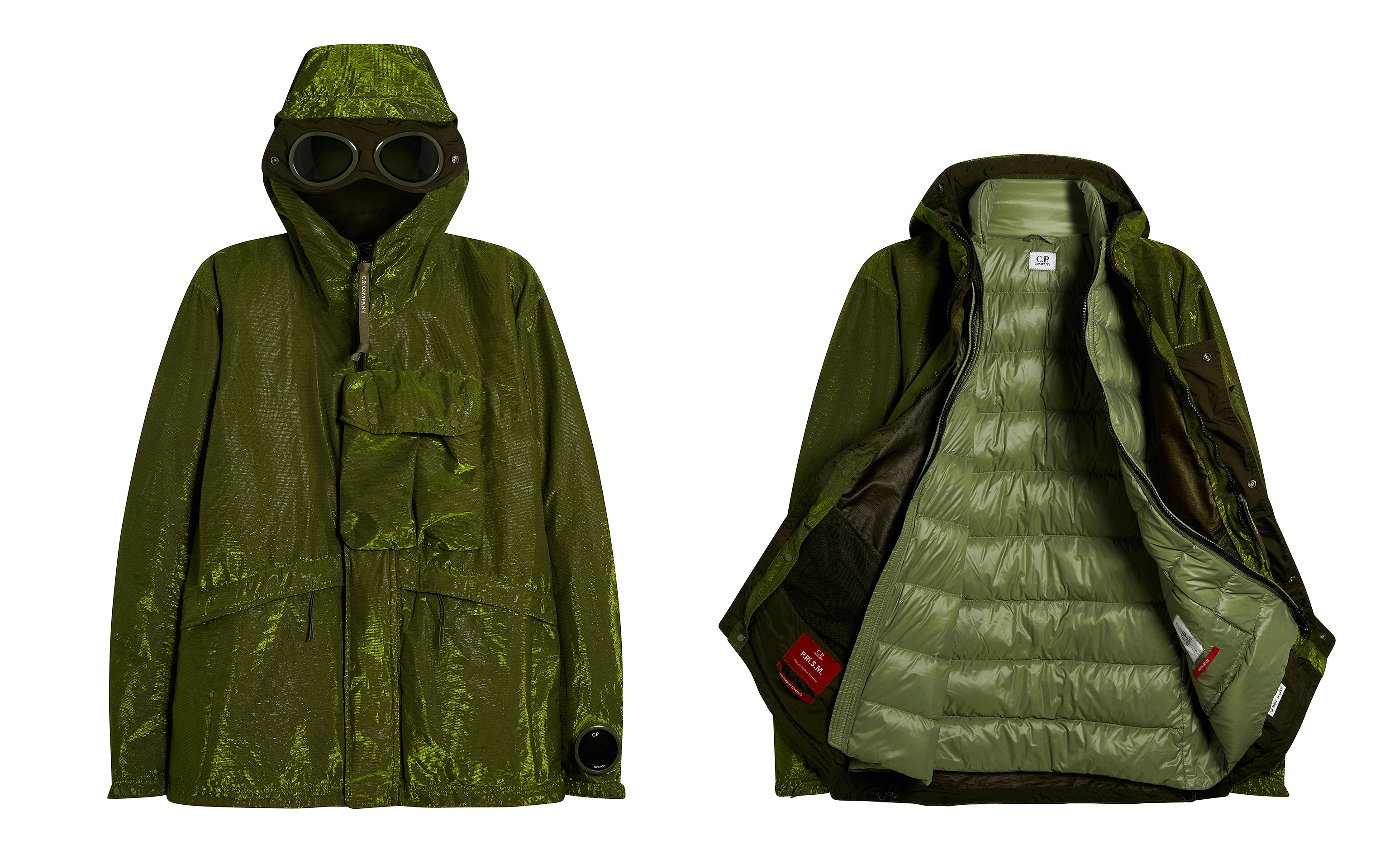 Picture of two moss green colour C.P. Company raincoats one open and the other closed, both on white background