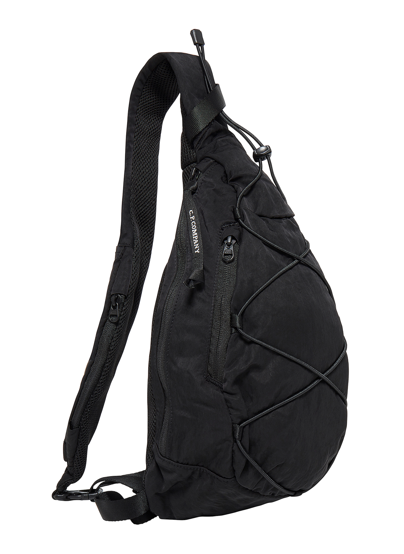 Side shot of a black C.P. Company runner bag in white background