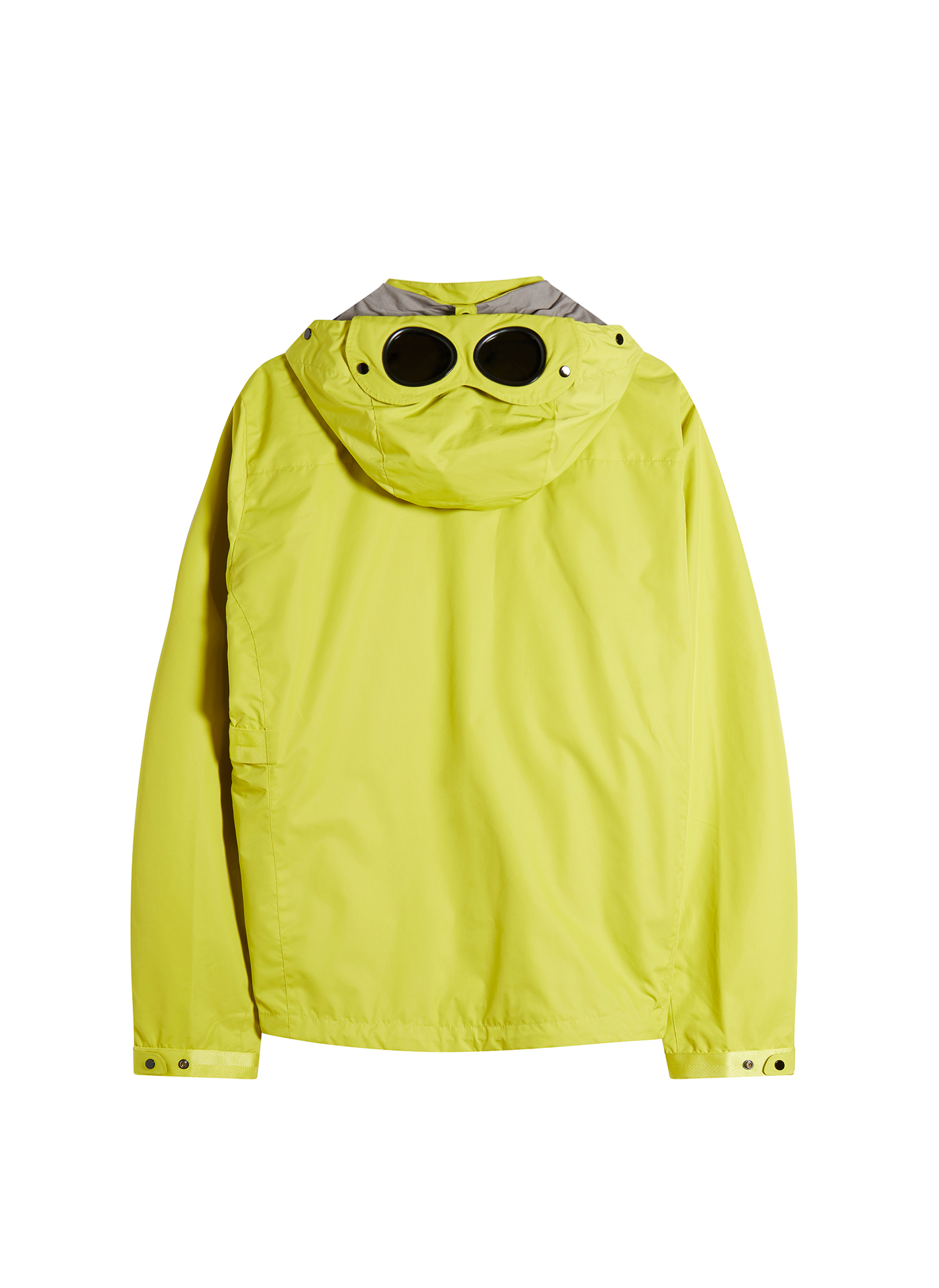 Back side shot of a bright yellow C.P. Company Jacket on white background