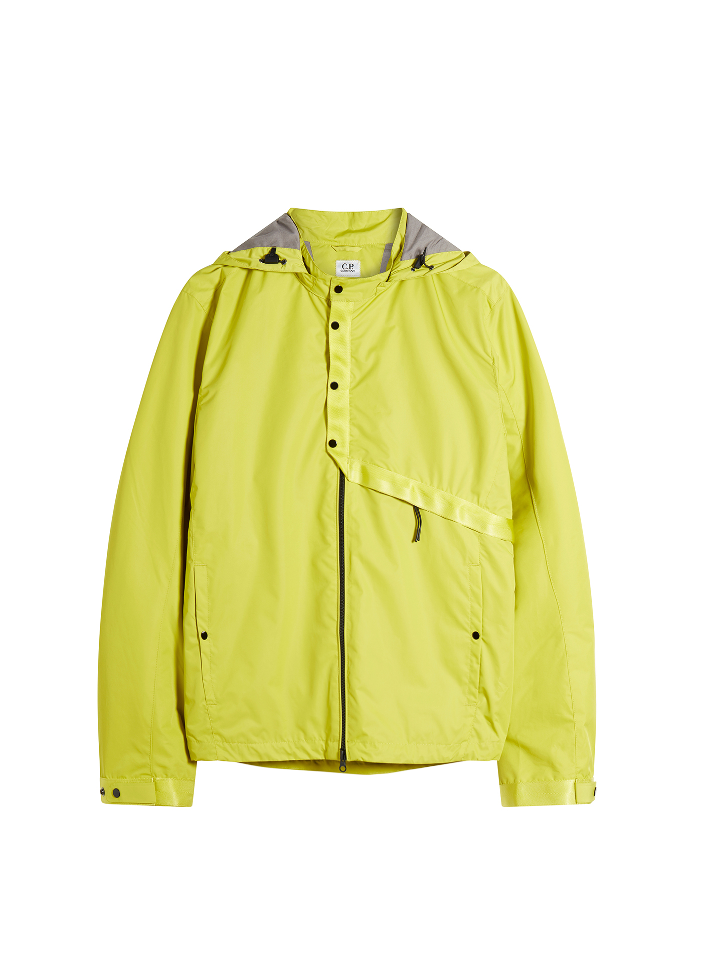 Shot of a bright yellow C.P. Company Jacket on white background