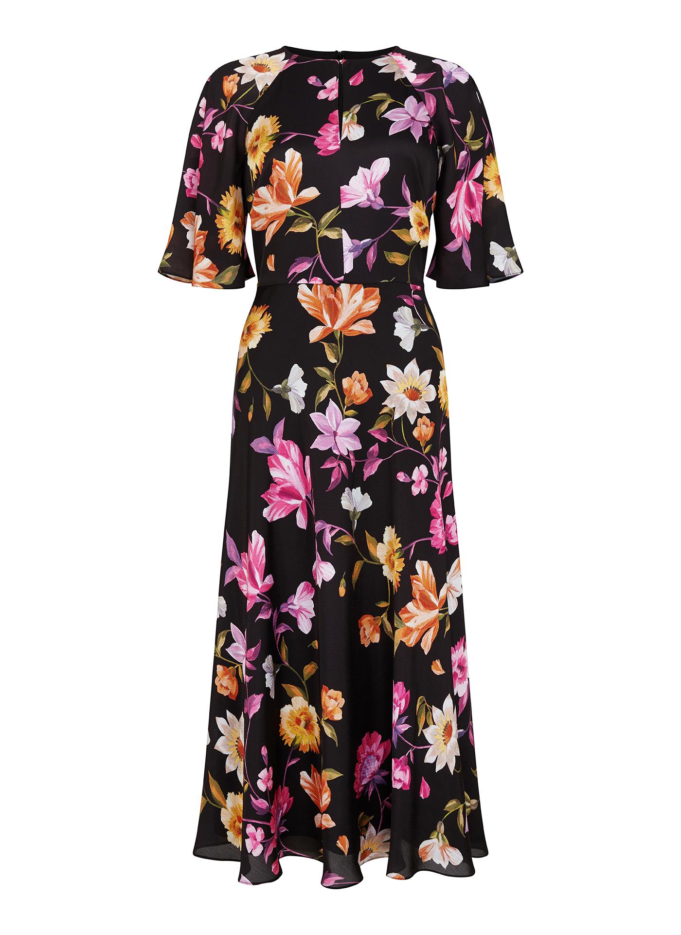 Long black floral Ted Baker dress