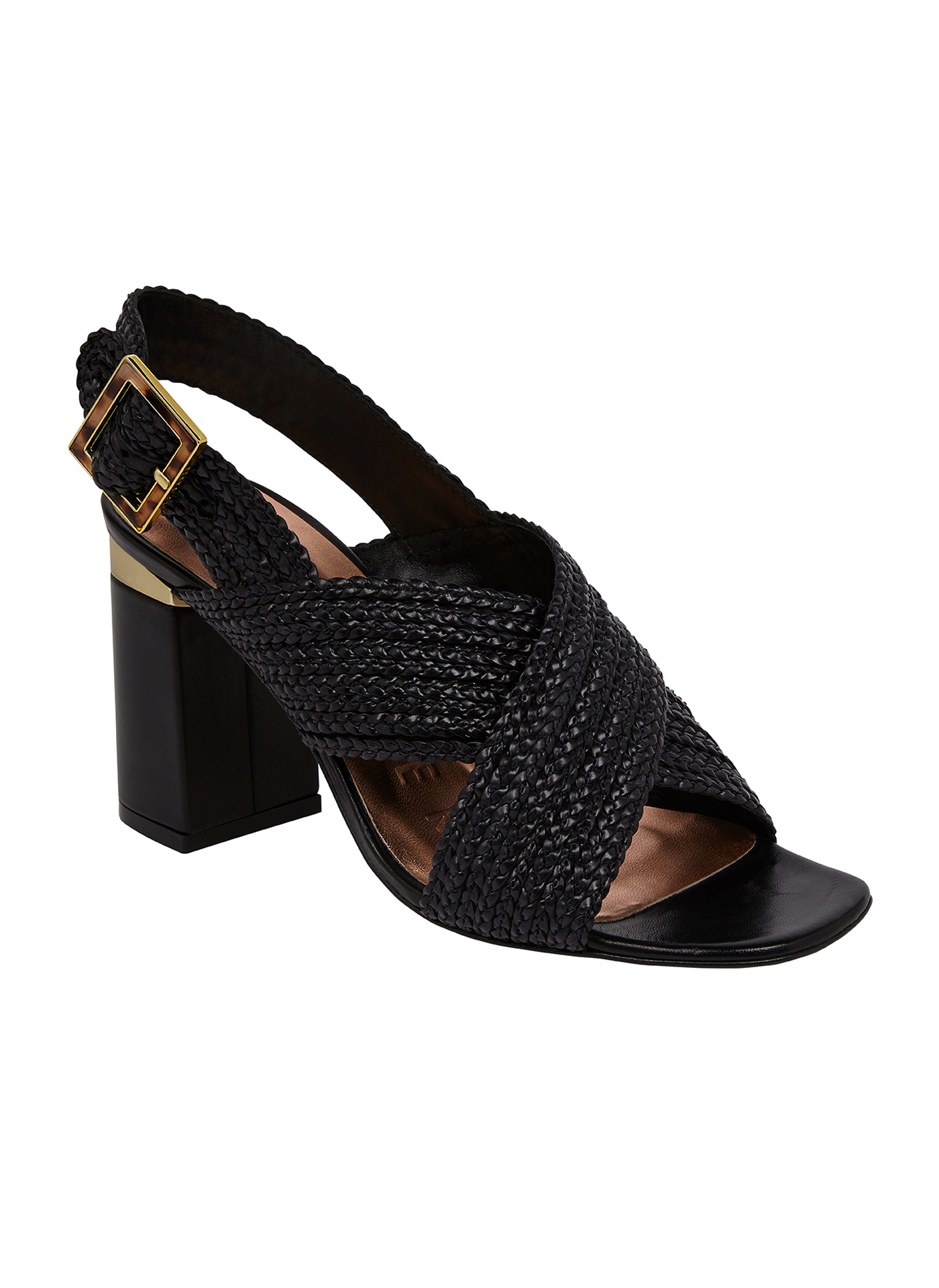 Black Ted Baker women's shoe with a gold buckle