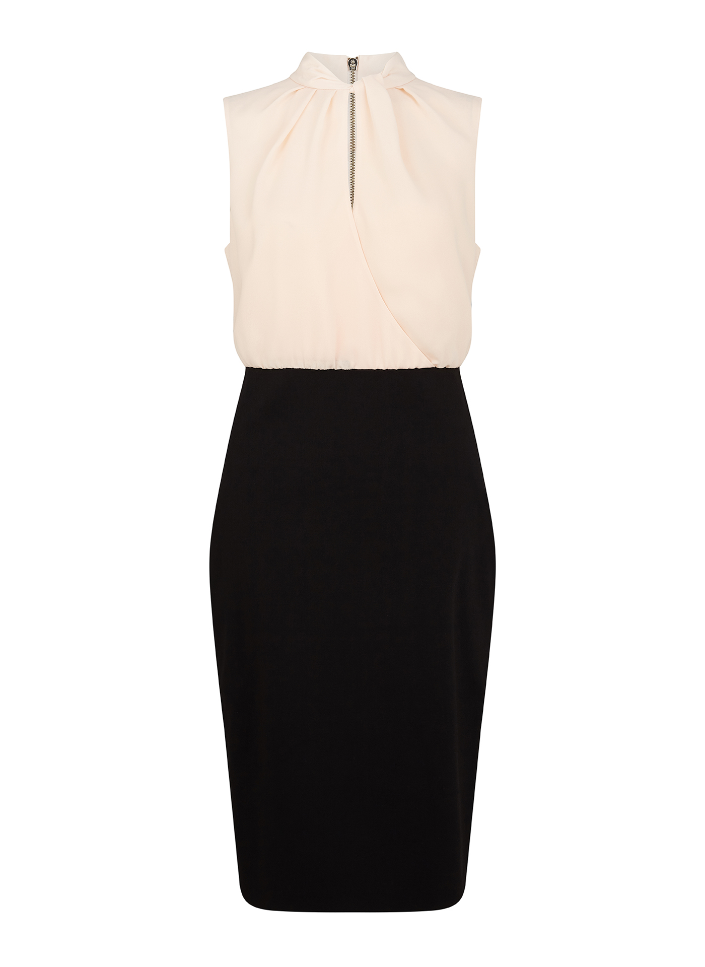 Pale sand Ted Baker top combined with black Ted Baker skirt