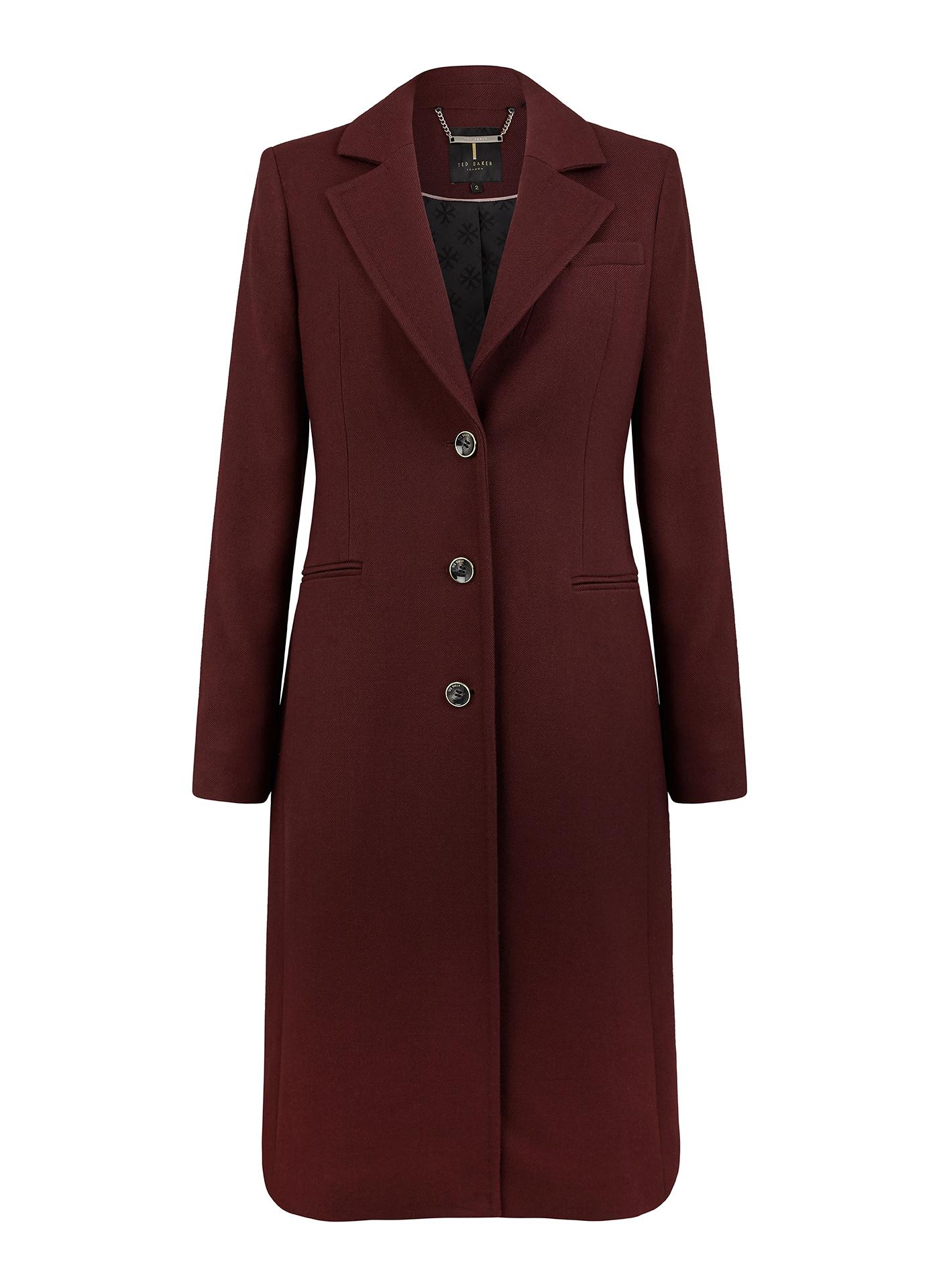 Ted Baker long winter coat in burgundy