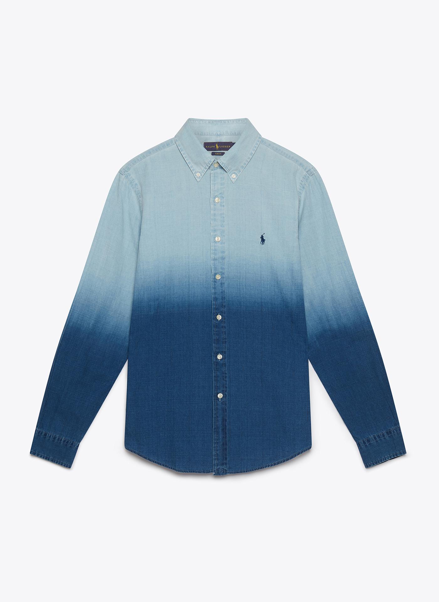 light blue denim shirt front on white background