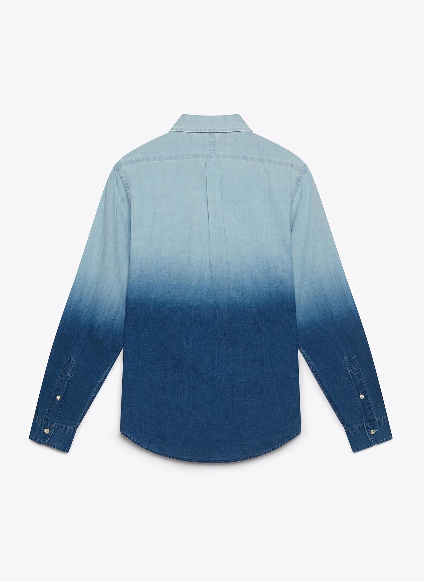 light blue denim shirt back on white background