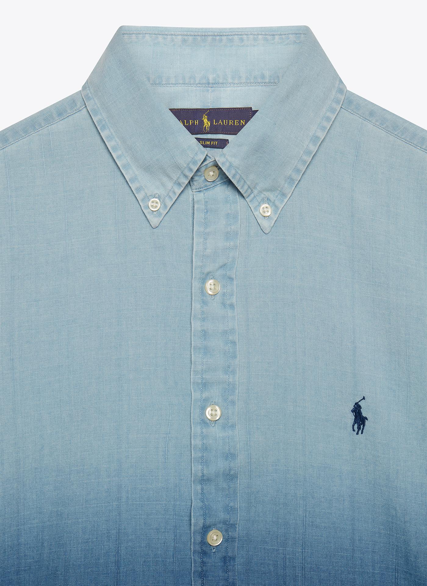 light blue denim shirt close up